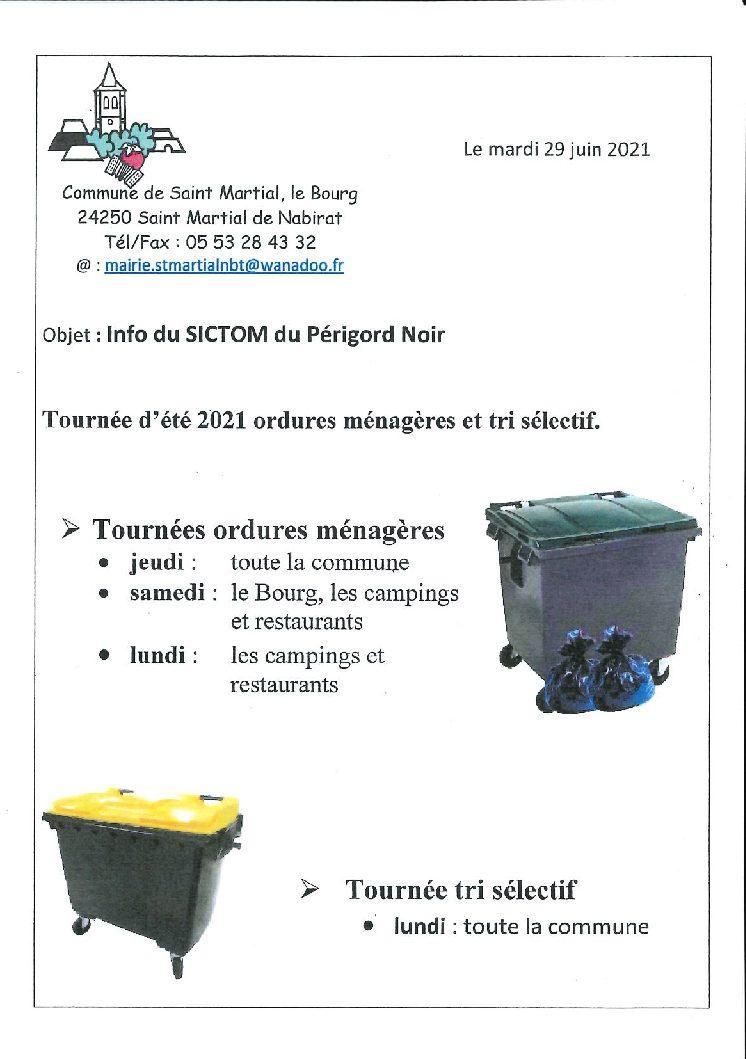 Ramassages ordures ménages et tri sélectif – Tournées  d'été.